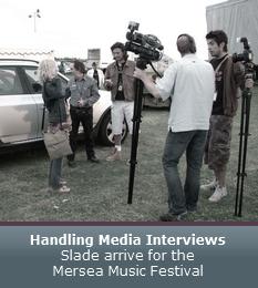Handling Media Interviews - Slade arrive for the Mersea Music Festival